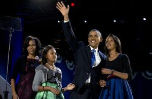 President Obama moments before he makes his victory speech on election night. Photo Courtesy: KTVU